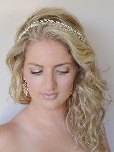Grecian Fern Leaf Pearl Bridal Headband by RoslynHarrisDesigns