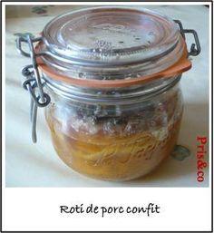 Rôti de porc confit en bocal, sans ajout de matières grasses, seulement des aromates - Cuisson lors de la stérilisation en cocotte minute - Appelé enchaud dans le sud-ouest, peut se conserver jusqu'à 2 ans