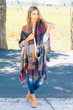 Trendy Plaid Pocket Kimono