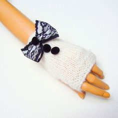 Winter gloves White Fingerless Knit Half finger by RoseAndKnit