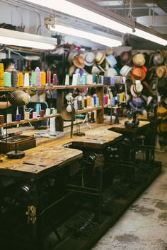 Jamie Beck of Ann Street Studio covers our factory We have a dozen antique millinery sewing machines- they don't make them like this anymore See the story here: http://annstreetstudio.com/2013/12/05/nyc-millinery/?src=ks