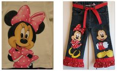 Custom Disney Clothing Minnie, Mickey Set shirt and jeans LARGER Size 2 characters  w/RUFFLES Sz 18m  to10 teens
