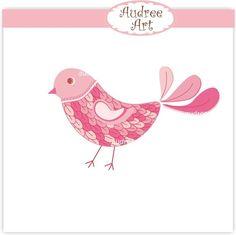 Bird clip art, pink bird clip art , instant download clip art