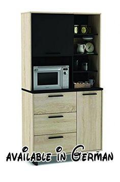 B00LA4BU8Q : Küchenschrank 933 EICHE-schwarz Schrank Küchenregal Küchenmöbel Singleküche Holz. gute Verarbeitung: Melamin Beschichtung und eine Arbeitsplatte in 22 mm. 1 Mikrowellenfach: 39x54x39 cm. Matt-schwarzer Griffe. Oberteil: 1 Tür und 4 Fächer. Unterteil: 3 Schubladen auf Rollenaufleisten (50x15x31 cm) und 1 Tür mit einem verstellbarenBoden