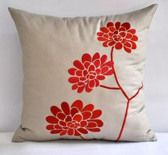 Orange Peonies Throw  Pillow Cover  18 x 18  by KainKain on Etsy, $23.00