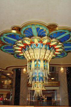 Just amazing Disney chandelier that's Art Deco/Egyptian Revival inspired I'm . - Just amazing Disney chandelier that's Art Deco/Egyptian Revival inspired I'm guessing Disney - Lampe Art Deco, Art Deco Chandelier, Art Deco Lighting, Chandelier Ideas, Stained Glass Chandelier, Vintage Chandelier, Vintage Lighting, Muebles Estilo Art Nouveau, Estilo Art Deco