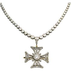 Georgian Diamond Maltese Cross Necklace - Camilla Dietz Bergeron, Ltd
