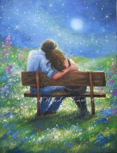 Loving Couple Art Print lovers in moonlight by VickieWadeFineArt