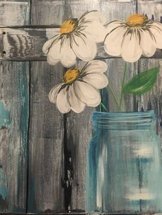 Learn to Paint Barnyard Daisies tonight at Paint Nite! Our artists know exactly how to teach painters of all levels - give it a try!