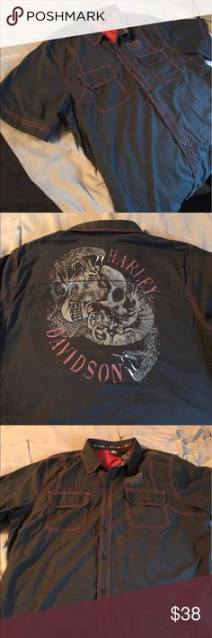 Harley Davidson button down 3xl Awesome like new Harley button down size 3xl worn only twice. Paid 84.00 at Harley price is pretty firm. This is a black label collection great deal for you. Thanks for looking Harley-Davidson Shirts Casual Button Down Shirts