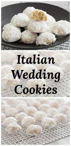 Wedding Cookies Italian Wedding Cookies are delicious little, powdered sugar coated, butter cookie bites with almonds. via Wedding Cookies Italian Wedding Cookies are delicious little, powdered sugar coated, butter cookie bites with almonds. Italian Wedding Cookies, Italian Christmas Cookies, Wedding Cake Cookies, Mexican Wedding Cookies, Wedding Cookie Recipes, Cookie Table Wedding, Wedding Cakes, Christmas Crack, Christmas Parties