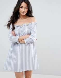 Пляжное платье в полоску с открытыми плечами ASOS