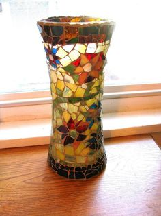 Mosaic Vase  Flowers  Handmade w Stained Glass by GreenRoofGirl, $47.50