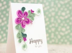 This is the perfect card to celebrate a special occasion, such as a wedding, engagement, baby announcement, or graduation! It is a 100% handmade card featuring a beautiful design of paper quilled flowers and leaves. Each shape is individually quilled by me with care - the handmade qualities are like nothing youll ever find in a shop!! If you like the design of this card, but would like a different sentiment or colors, just send me a custom request and Id be happy to work with you!  The card…