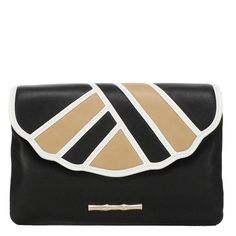 Izzy is the same perfect size as the Bella and Isabella clutches, but her shell-inspired art deco styling give you an updated look for spring days to summer nights. The Izzy in Black with White and Butter Leather is a chic statement maker for every occasion.