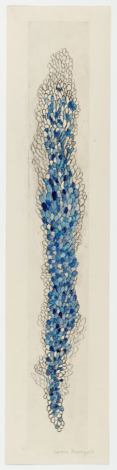 Louise Bourgeois  Swaying, 2006  Etching, ink, watercolor and pencil on paper  149.5 x 33.9 cm / 58 7/8 x 13 3/8 in