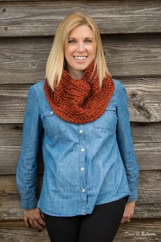 Chunky Button Cowl - Versatile, wool blend cowl scarf in Red Spice, featuring a stylish painted coconut button.