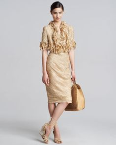 Hand-Woven Tweed Midi Skirt by Donna Karan at Bergdorf Goodman.