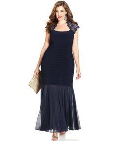 Xscape Plus Size Glitter-Lace Mermaid Gown - Dresses - Women - Macy's