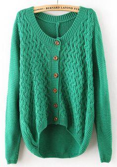 Green Patchwork Elbow Patch Irregular Cotton Blend Cardigan