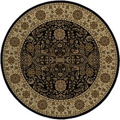 @Overstock - This bold rug showcases an oriental pattern rendered in shades of black, red, ivory, olive, slate green, gold, camel and beige. The rug is crafted of durable polypropylene.http://www.overstock.com/Home-Garden/Power-loomed-Kerman-Black-Round-Rug-710-x-710/6020796/product.html?CID=214117 $244.99