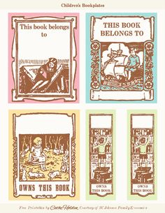 FREE printable BookPlate labels by Cathe Holden: Bookplates in general have been around likely as long as home libraries and are usually pasted to the inside front cover a book. They also make good labels for school notebooks.