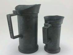 2 West Germany Antique Pewter Measuring  Cups. 1/2 Liter and 2 Deciliter.