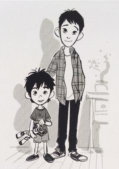 Concept art of the Hamada family by Jin Kim and Shiyoon Kim (The Art of Big Hero 6)