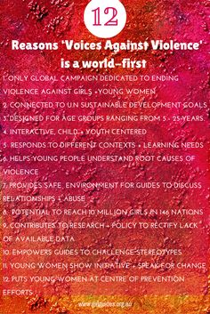 What is that Girl Guides does that no one else does? What makes our 'Stop the Violence' campaign unique? It's the fact 'Voices against Violence' is the first of its kind in the world. We're putting a stop to domestic violence by putting girls and young women in the lead.