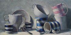 "8x15"" oil on linen Cornishware, Paintings, Oil, Fine Art, Paint, Painting Art, Painting, Painted Canvas, Visual Arts"