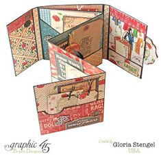 Graphic 45 and Art-C Groove Tool - This Gloria Stengel mini album is decorated with coordinating colors of red, blue, and black from t - Graphic 45, Diy Mini Album, Mini Album Tutorial, Mini Scrapbook Albums, Scrapbook Cards, Pop Up Karten, Handmade Books, Handmade Journals, Handmade Cards