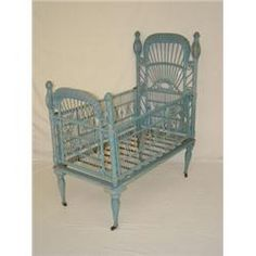 VICTORIAN WICKER CRIB WITH HEYWOOD BROTHERS LABEL IN OLD BLUE PAINT Old Wicker, Wicker Sofa, White Wicker, Wicker Furniture, Rattan, Antique Nursery, Goth Baby, Rock A Bye Baby, Gothic Furniture
