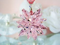 Pink Swarovski Crystal Suncatcher Car Rear View Mirror Charm