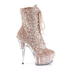 1915899dae59 Delight 1020G Rose Gold Glitter Lace Up 6