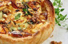 Variatierecept: quiche met geitenkaas, tomaatjes en katenspek.