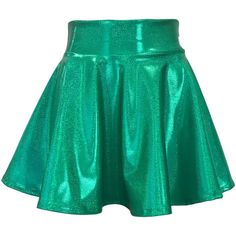 Green Sparkle High Waisted Skater Skirt Clubwear, Rave Wear, Mini... ($34) ❤ liked on Polyvore featuring skirts, mini skirts, sparkly mini skirt, skater skirts, mini circle skirt, high-waisted skater skirts and high-waisted flared skirts