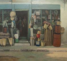 Kostas Malamos, 'At the Market' Greek Paintings, Art Paintings, Modern Art, Contemporary Art, Greek Art, 10 Picture, Love Painting, Conceptual Art, Artist Art