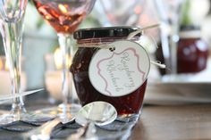 #raspberryrhubarb jam from Lamothe's Sugar House. Tag designed by me for Well Wed photo shoot. http://pizzazzerie.com/weddings/french-inspired-wedding-shoot-by-jcf-events/