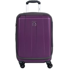 """Delsey Helium Shadow 3.0 21"""" Carry On Expandable Spinner Suiter... ($104) ❤ liked on Polyvore featuring bags, luggage and purple"""
