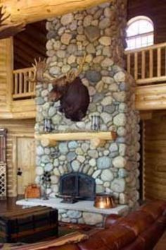 Adirondack Mountain Fieldstone Fireplace