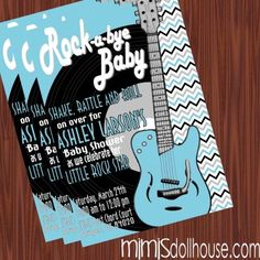 http://mimisdollhouse.com/product/rock-and-roll-baby-shower-invitation-bluesilver/  Rock and Roll Baby Shower Invitation  The Rock and Roll baby shower invitation is personalized to include Name, Age, Date, Time, Location, and RSVP.  This invitation is available in printable JPED and PDF formats.  A coordinating decorations package is available for this theme: http://mimisdollhouse.com/product/rock-and-roll-baby-shower-printable-collection/  #RockandRoll #BabyShower #BabyShowerInvitation