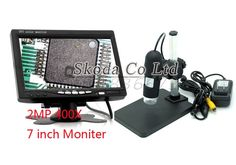 84.99$  Buy here - http://ali50y.worldwells.pw/go.php?t=32269186063 - Free shipping 2MP 400X HD Digital AV TV Video Microscope Endoscope Camera set 8 LED light + 7 inch LCD Monitor+Stand Holder