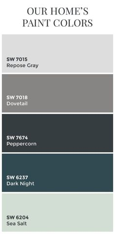 Paint Colors // Sherwin Williams Dovetail // Sherwin Williams Peppercorn // Sherwin Williams Dark Night // Sherwin Williams Sea Salt // Color Schemes // Home Color Ideas Repose Gray Dovetail Sherwin Williams, Peppercorn Sherwin Williams, Sea Salt Sherwin Williams, Sherwin Williams Repose Gray, Sw Repose Gray, Sherwin Williams Color Palette, Exterior Paint Colors, Exterior House Colors, Paint Colors For Home