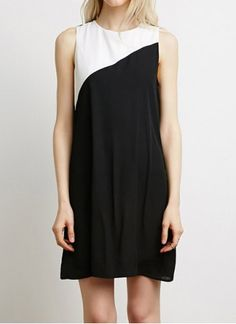 Casual Round Neck Sleeveless Color Splicing Dress For Women