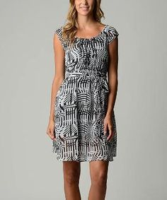 Black & White Wave Cap-Sleeve Dress $14.99 by Zulily