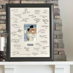 Personalized Wedding Wishes Signature Frame with Engraved Plate is a new spin on the old-fashioned guest book, the Personalized Wedding Wishes Signature Frame puts their good wishes where you can see them.  Guests add their signatures and sentiments to the photo mat and couples insert their favorite wedding photo for a memorable tribute to that special day. Brushed Silver plate is personalized with bride and groom's names and wedding date.