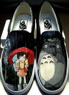 Totoro bus stop scene on vans shoes