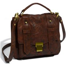 Cesca Weathered Faux Leather Crossbody Satchel found on Polyvore