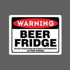 Beer Fridge Sticker vinyl decal car funny no food drink spirit warning sign joke