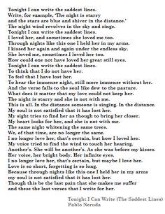 An analysis of the saddest poem written by pablo neruda